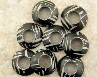 Aluminum Bead Caps, Black and Silver Streaks, 1 pair (2 caps), 13mm