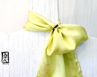 Handpainted Silk Scarflette with a Scarf Ring. Yellow Silk Scarf Miyabi. Silk Scarves Takuyo. Japanese Scarf. 6x24 in.