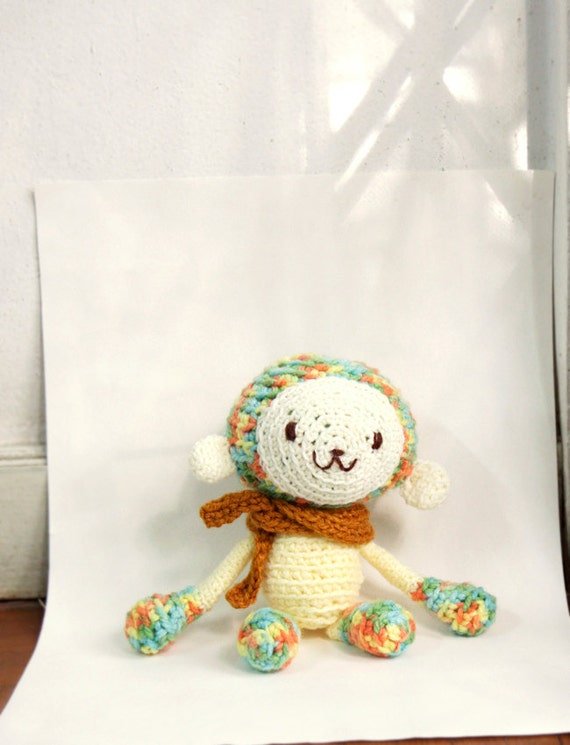 Amigurumi Crochet Monkey, Monkey Stuffed Doll/Toy in Colorful Autumn Color - Yellow, Orange, Green, Blue