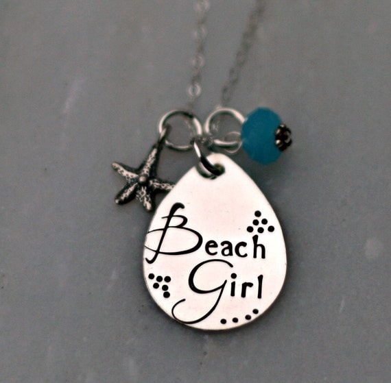 Hand stamped jewelry beach necklace personalized necklace for How to make hand stamped jewelry