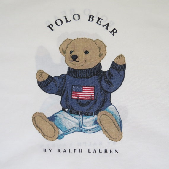 Vintage Ralph Lauren Preppy Patriotic Polo Bear Pillow Case