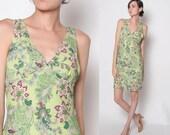Vintage 90s Paisley dress / sleeveless dress / M