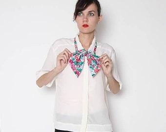 Vintage 80s Oversized Floral Bow Tie Blouse / Ascot / Button down
