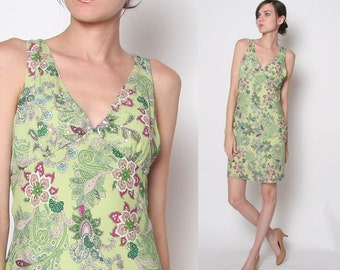 Vintage 90s Paisley dress / sleeveless dress / M