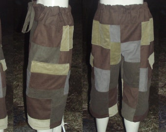 Classic Earth Tone Patchwork Shorts made to order