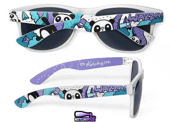 Sunglasses gift for her - Custom Wayfarer style sunglasses Panda bears unique hand painted