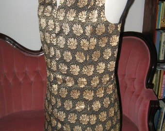 VINTAGE MOD GOLD Brocade Evening Cocktail Dress 1960's Retro