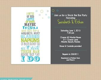 Stock the Bar Invitation . Any Colors