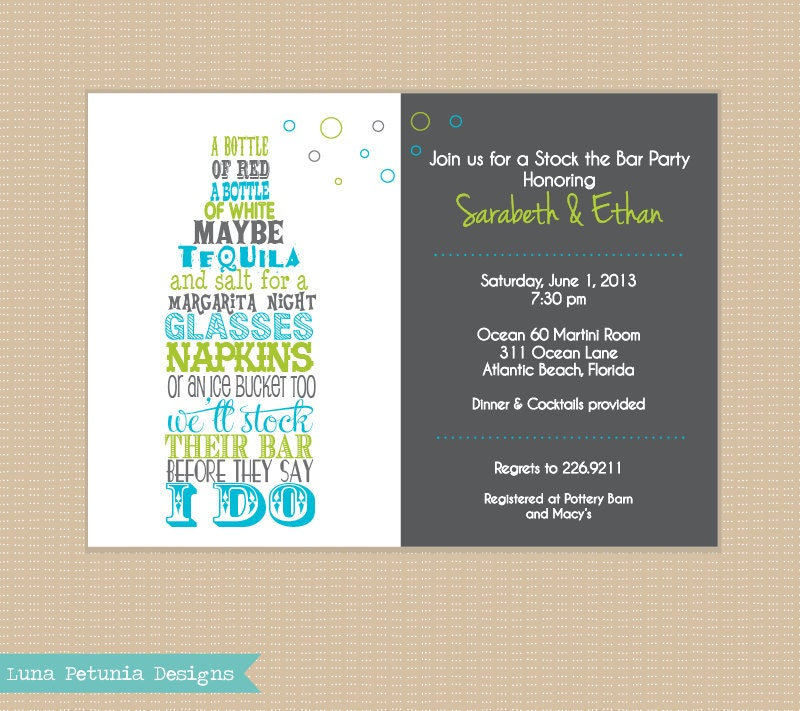 stock the bar invitation . any colors, Party invitations