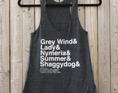 Game of Thrones // Direwolves of Winterfell // Ladies Racerback Tank Top (Black)