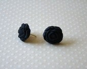 Earrings / Black Rosebuds / Valentines Special - AddiesWonders