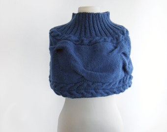 Knitted shrug. Dodger blue Hand knitted shrug. Set of shrug and hat knitted by hand. Autumn, winter shrug.