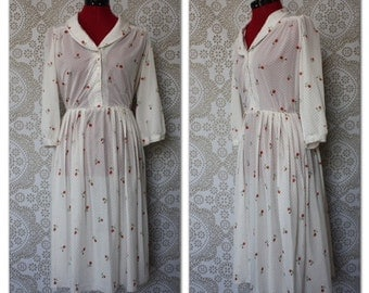 Vintage 1970's 80's Red and White Polka Dot Dress with Rose Accents Medium