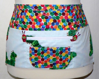 Teacher Apron, Vendor Apron, Gardening Apron - 6 Pocket Zipper Apron, HUNGRY CATERPILLAR, made-to-order in 2 sizes