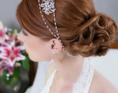 Pearl Crystal Chain Wrap Headband, Pearl Halo, Bridal Halo, Bridal Headpiece, Wedding Headdress, Bridal Hair Piece, Pearl Swag  - STYLE 175