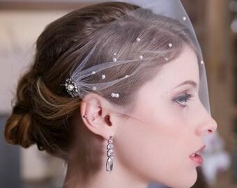 Tulle Bandeau Birdcage Veil, Bird Cage Veil, Bridal Veil, Crystal Veil, Pearl Veil, Wedding Veil, Scattered Pearls and Crystals, STYLE 147