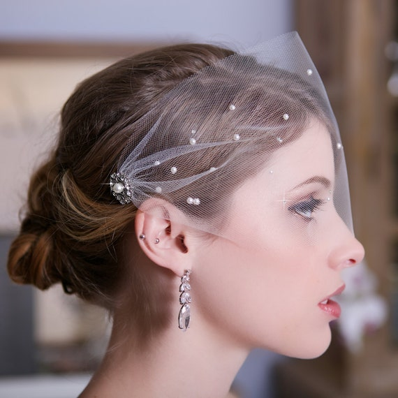 FREE SHIPPING Tulle Bandeau Birdcage Veil, Bird Cage Veil, Bridal Veil, Crystal Veil, Pearl Veil, Wedding Veil, Scattered Pearls & Crystals