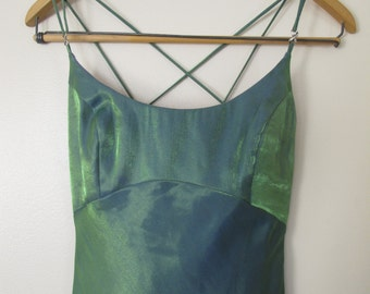 mermaid teal green blue dress full length maxi prom XS S strappy open back spaghetti strap flare two tone 1990s