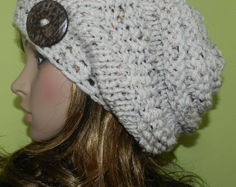 SALE !! Hand Knitted Slouchy Hat in Oatmeal, Rasta Hat, Hippie Hipster  Beanie, Chunky Teen Hat with Eco Button