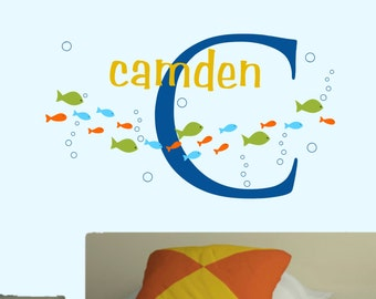 Baby Boy Wall Decal Name Nursery Decals Fish Set Decals Kids Ocean Bedroom Decor Bubbles Decals Boy Monogram Decal Girl Monogram Decal