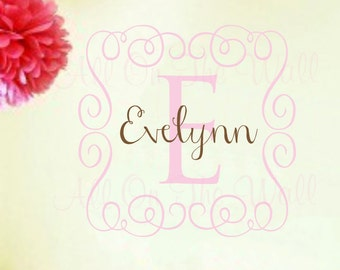 Wall Decals Baby Girl Nursery Name Monogram Frame Wall Decor
