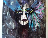 """Galactic Visions 18"""" x 24"""" Watercolor, acrylic and ink Portrait"""