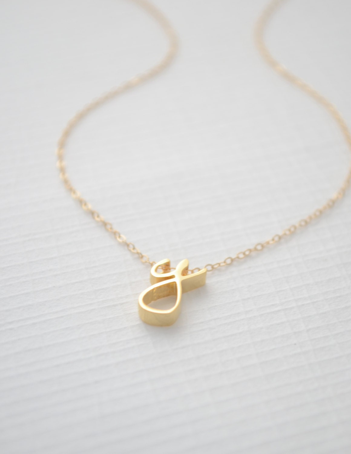 Gold Cursive Initial Necklace Cursive initial by OliveYewJewels