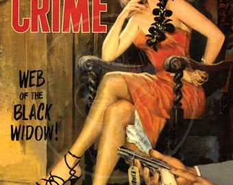 Women in Crime (May 1952) - 10x13 Giclée Canvas Print of Vintage Pulp Detective Magazine