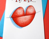 Valentine Card - Miss You Card - I Love You Card - Long Distance Love - My Lips Need Yours