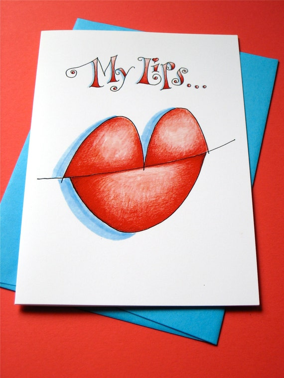 Miss You Card - Long Distance Relationship Card - I Love You Card - Anniversary - Kiss Card - My Lips Need Yours