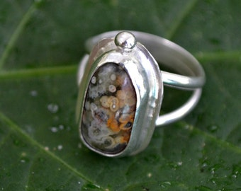 Ocean jasper sterling silver ring.  hand forged bezel set.  Size 6.5