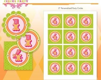 Pink Elephant Circus Birthday Party Circles - Party Logos - Hot Pink - DIY Print - Vintage Carnival