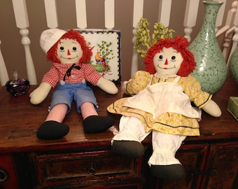 Two Vintage Raggedy Ann & Andy Dolls Handmade Great Condition