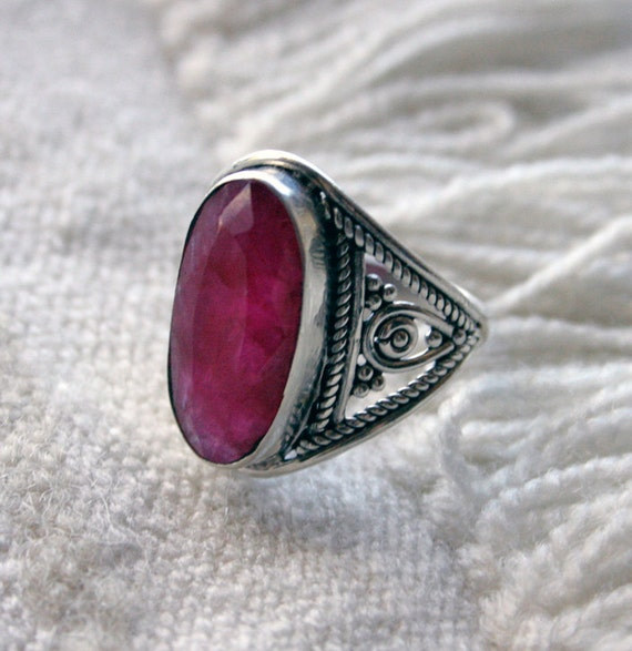 Turkish Delight Pink RUBY Vintage Silver Ring