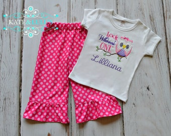 Look whoos One owl Birthday Outfit - Girls Owl Birthday shirt pants outfit - 1st 2nd birthday outfit