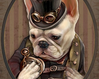 Emerson the French Bulldog Art Gentleman Victorian Steampunk Goggle Pocketwatch Original Illustration Portrait Print- 4 Sizes Available