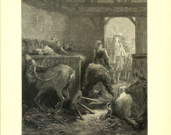 La Fontaine The Eye of the Master, 1885 Antique Engraving by Gustave Dore