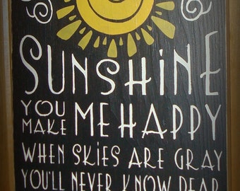 Large typography wood sign board. You are my sunshine. Black. Subway sign. Primitive style decor