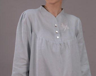 Pure Linen Long Night Gown/Robe/ 3/4 Sleeves/Stand Neck