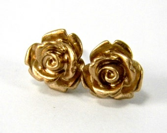 Gold Rose Earrings  Glossy Metallic Gilded Golden Cabochon Titanium Stud Earring Pair  Hypoallergenic Minimalist Jewelry