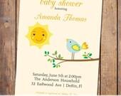 bird baby shower invitations with sun, orange and green, singing bird, gender neutral, digital, printable (item93)