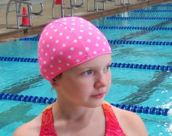 Lycra SWiM CaP - PINK POLKA Dot - Sizes - Baby , Child , Adult , XL - Made from Spandex / Swimsuit Swimming Fabric -by Froggie's Swim Caps