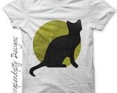 Halloween Iron on Transfer - Iron on Black Cat Shirt / Kids Toddler Boys Clothing / Baby Halloween Tshirt / Black Cat Moon Printable IT282-P