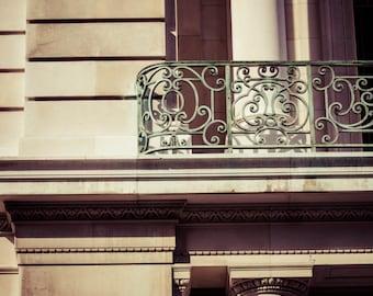 Vintage Rustic New York City Architecture Art Print Photography White Pillars Teal Aqua Ornate Iron Balcony NYC Home Decor