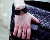 Geometric Black Cuff, Black Triangle Bracelet, Gold Triangle Cuff, Elastic Cuff, Geometric Cleopatra Cuff, Statement Triangle Cuff