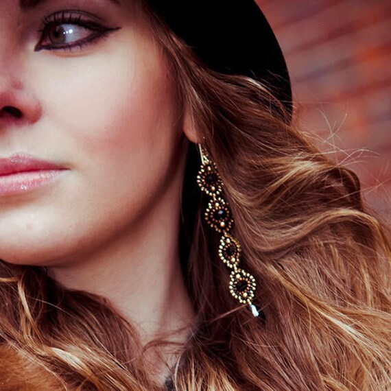 Long Tassel Earrings, Black Earrings, Black Flower Earrings, Statement Earrings, Black and Gold, OOAK, Elegant, Luxe