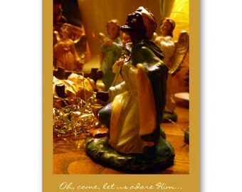 Nativity Christmas Card - Wise Men, Magi, angels, baby Jesus, Melchior, oh come let us adore him, Christ child, Italian nativity