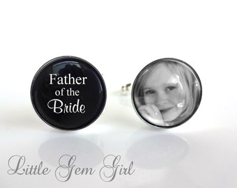 Father of the Bride Cufflinks - Custom Photo Wedding Cuff Links - Fathers Day Wedding Keepsake - Sterling Silver or Stainless Steel