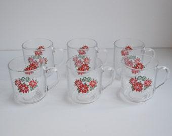 Vintage Christmas Mugs Cups Luminarc Set of 6 Pointsettia Christmas Mugs Clear Mugs Glasses Christmas Glassware