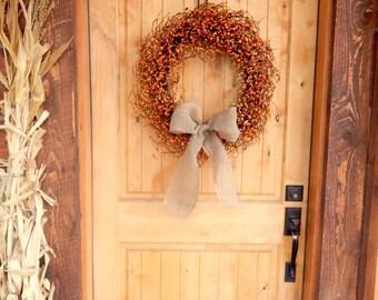 Fall Wreaths-Fall Door Wreath-Autumn Wreath-ORANGE Berry Wreath-Fall Home Decor-Pumpkin Spice-Scented Wreath-Rustic Primitive Home Decor